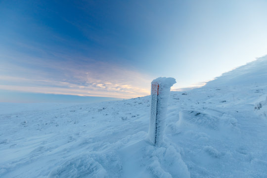 hiking marker on way to summit of mountain Saana, Lapland, Finland, Kilpisjärvi