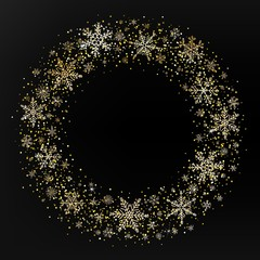 Vector Merry Christmas wreath with golden snowflakes and glitter on black background. Snowflakes round frame with copy space. Happy New Year template for season greeting. Xmas festive card.