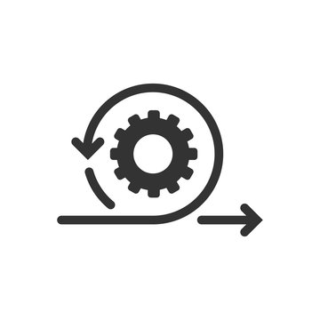 Agile icon in flat style. Flexible vector illustration on white isolated background. Arrow cycle business concept.