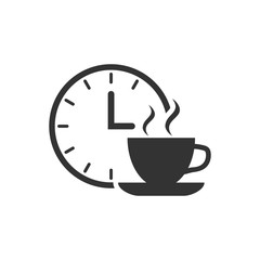 Coffee break icon in flat style. Clock with tea cup vector illustration on white isolated background. Breakfast time business concept.