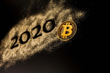 Papiers peints Route 66 Happy New Year 2020 . Creative Collage of numbers two and zero made up the year 2020. Beautiful sparkling Golden number 2020 and bitcoin on black background for design