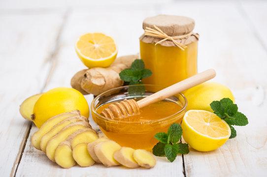 Fresh honey, ginger and lemon