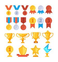 Achievement award trophy golden cup medal icon set. Vector flat graphic design cartoon illustration