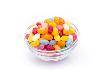 Jelly beans in the glass bowl