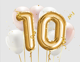 Happy 10th birthday gold foil balloon greeting background. 10 years anniversary logo template- 10th celebrating with confetti. Photo stock.