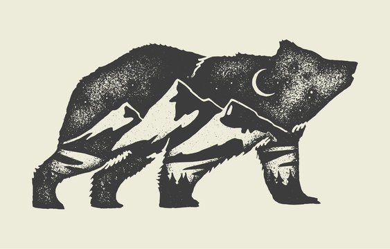 Bear with mountains in it - double exposure tattoo style vintage grunge illustration