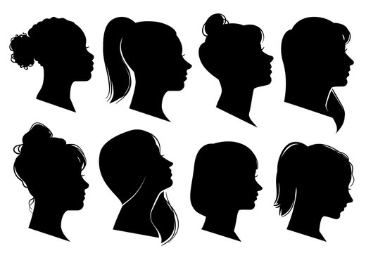 Woman heads in profile. Beautiful female faces profiles, black silhouette outline avatars, anonymous portraits with hairstyle vector set