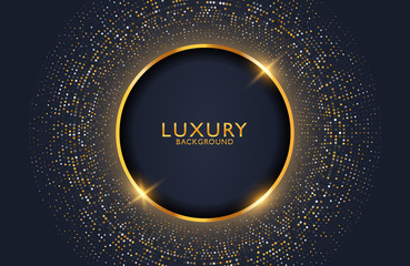 Luxury elegant background with shiny gold circle element and dots particle on dark black metal surface. Business presentation layout
