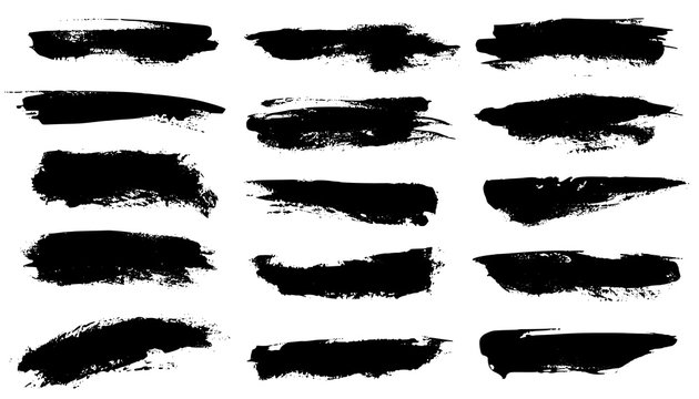 Grunge brushes. Black paint strokes, ink paintbrush texture. Brushstroke stain grungy drawing frame borders, isolated vector set