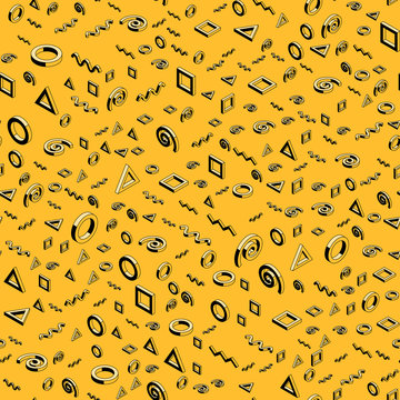 Black and yellow ink drawing styled isometric design elements seamless pattern.