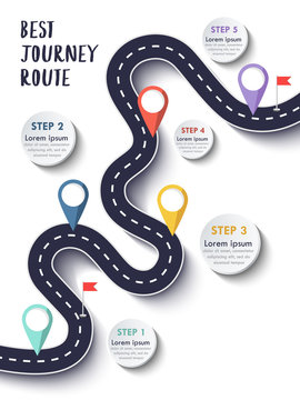 The Best Journey Route. Road trip and Journey route. Business and Journey Infographic Design Template with flags and place for your data. Winding road on a colorful background. Vector EPS 10