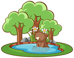 In de dag Kids Isolated picture of little bear in the pond