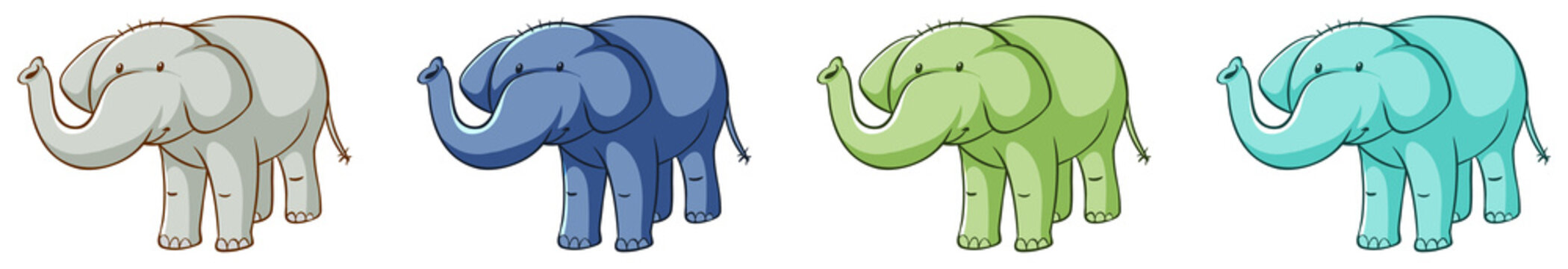 Cute elephants in four colors