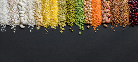 Fototapeta Cereals and legumes food Panoramic background in high resolution.