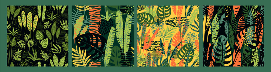 Abstract seamless patterns with tropical leaves. Hand draw texture.
