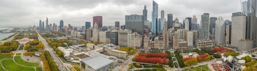 Wall Mural - Chicago downtown buildings skyline fall foliage aerial drone