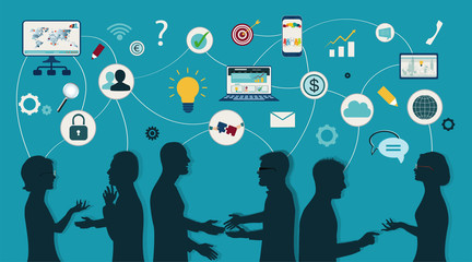 Sharing ideas and technology for the future. Connection and exchange of ideas - data or questions. Communication and network between people. Upload and download data. Mind Map. Network teamwork