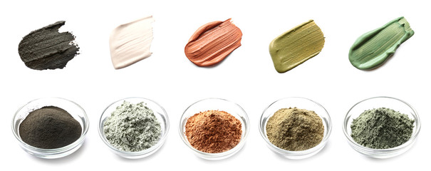 Collage with different cosmetic clays on white background