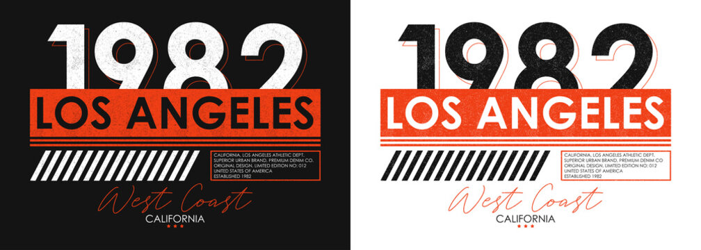 Los Angeles athletic typography for t-shirt design. Set of California t shirt print for sportswear. Athletic apparel with grunge. Vector illustration.