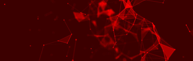 Abstract red digital background. Big data visualization. Science background. Big data complex with compounds. Lines plexus.