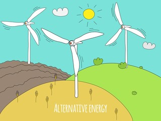 Wind generator and green meadows. Green energy and alternative energy generators. Summer rural landscape doodle. Vector EPS 10