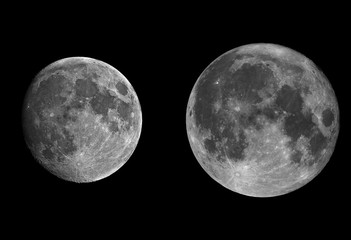 Rappresentation of satellites, on the right you see on apogee orbit, and in the second one on your right in its perigee one, or also known as super moon.
