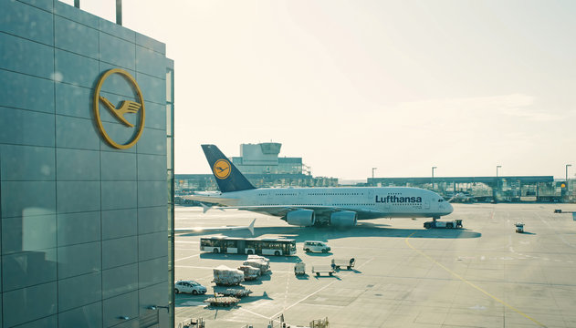 travelling by air. Lufthansa airbus, jet airliner, aircraft or large passenger plane in airport. Aviation and transport. Vacation, wanderlust, journey
