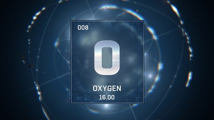 3D illustration of Oxygen as Element 8 of the Periodic Table. Blue illuminated atom design background with orbiting electrons. Design shows name, atomic weight and element number