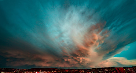 Foto op Canvas Groen blauw Dramatic sky during a thunderstorm