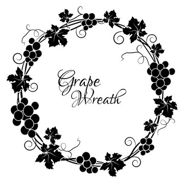 Grape circle frame. Round black frame bunches of grapes. Vector illustration.