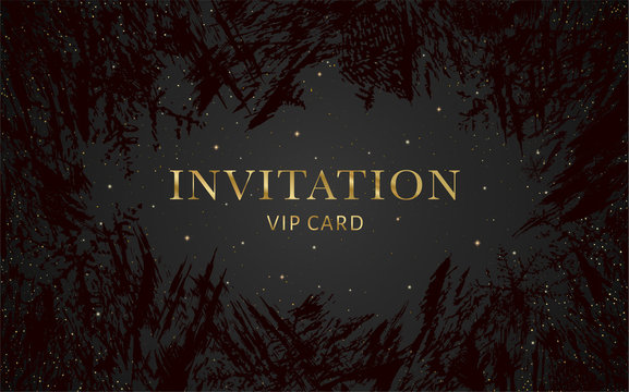 Luxurious VIP Invitation template with gold, black background and decorative golden grunge ice texture pattern. Premium class design for Gift certificate, Voucher, Gift card