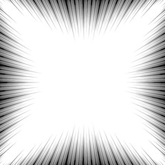 Cartoon template Black and White abstract manga frame, line background, radial speed superhero action, flash comic book vector illustration element. Surprise scene. Circular starbust explosion texture