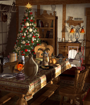 Vintage room inside of an old house is ready for Christmas time