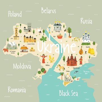 Bright map of Ukraine with landscape, symbols