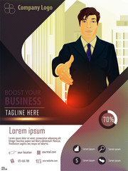 Infographics recruitment poster design template with a businessman on city background. Business landing page website template design. For web design, banner template, infographic.