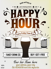 Happy hour flyer design with beer, wine glass, floral ornament on white background. It can be useful whether it is a specific show, club event, or special attraction.