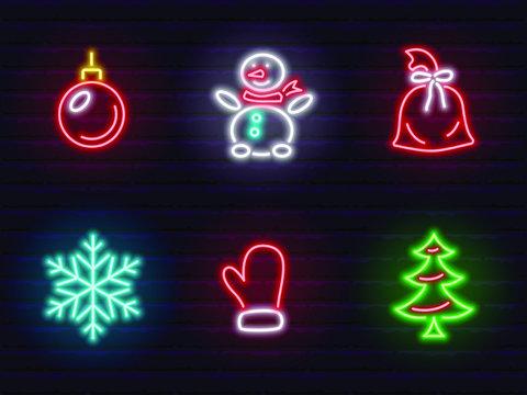 set of neon christmas icons