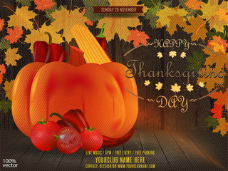 Thanksgiving fall festival template. Fall Festival flyer or poster template. Autumn leaves, tomato, corn, pepper and pumpkin on wooden background with leaves pattern. Vector EPS 10.
