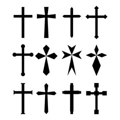 Set christian cross symbol. Flat design. EPS 10. Vector illustration.