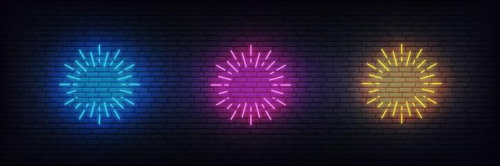 Neon firework burst. Set of glowing neon firework signs Fotomurales