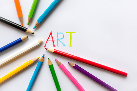 Art with paper,color pencils ,and tools. Creativity school. Copy space.