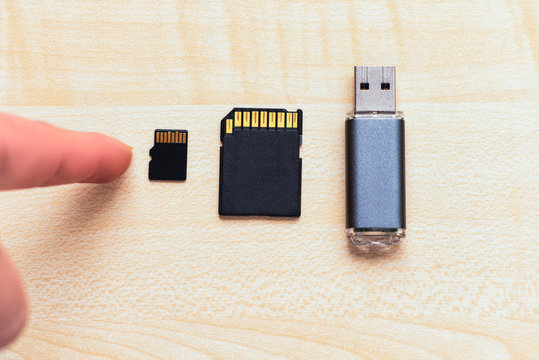 Set of equipment for storage information .Transfer or backup data. The devices for store data flash drive, sd card and micro sd card.