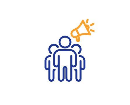 Holding megaphone sign. Brand ambassador line icon. Advertisement device symbol. Colorful outline concept. Blue and orange thin line brand ambassador icon. Vector