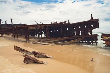 Acrylic Prints Shipwreck S.S. Maheno Fraser Island ship wreck on beach