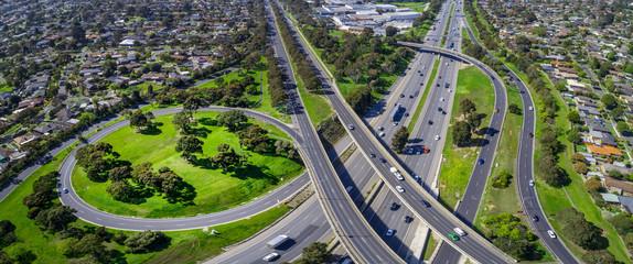 Monash freeway and Wellington road interchange in Mulgrave suburb - aerial panoramic landscape