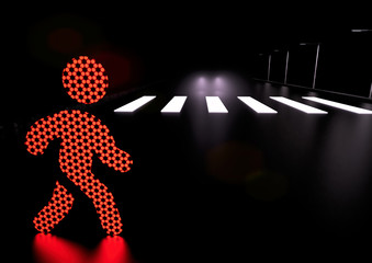 Traffic light man icon crosses the road in the wrong place