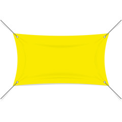 Blank yellow textile or vinyl banner with rope extensions