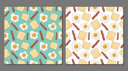 Custom vertical slats with your photo Vector set of fried eggs seamless patterns for healthy food packaging. English breakfast backgrounds with bacon, toast for shops, cafes and products. Vector illustration