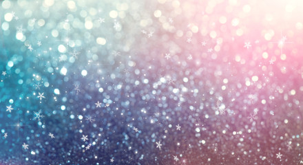 Christmas colorful vintage background. Holiday glowing backdrop. Defocused Background With Blinking...