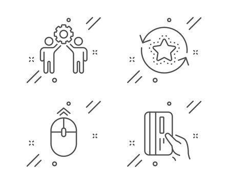 Swipe up, Employees teamwork and Loyalty points line icons set. Payment card sign. Scrolling page, Collaboration, Bonus reward. Credit card. Technology set. Line swipe up outline icon. Vector